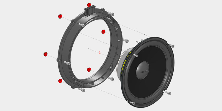 Powerful 20cm mid-bass woofers